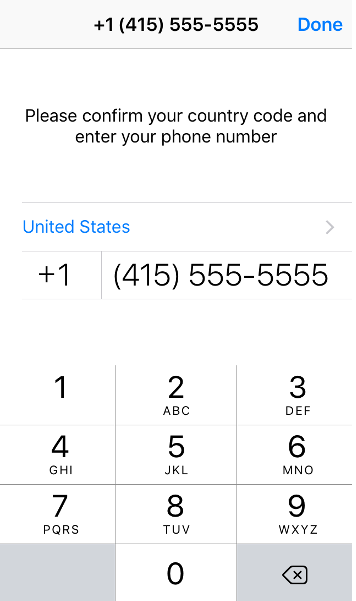 """Enter your cell phone number and tap """"Done."""